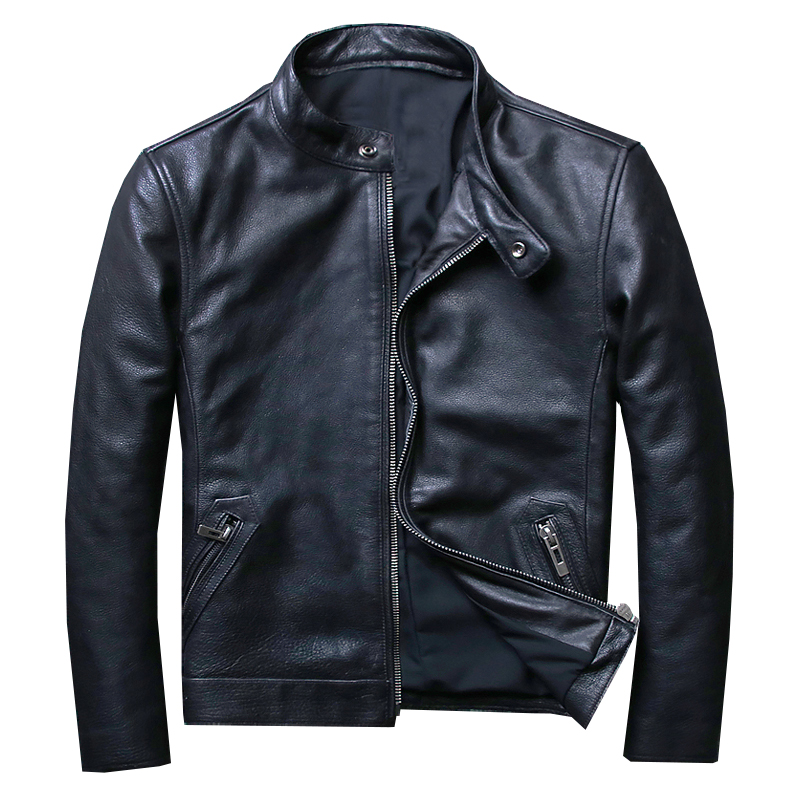 Special Head Layer Cowhide  thick cow leather Man Brief Paragraph Locomotive Jacket Collar Cultivate