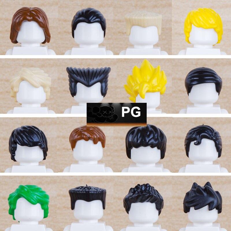 15pcs/lot Figure Mini Dolls Head Hair Helmet Dragon Ball Batman SWAT Ninja Mini Figures MOC DIY Building Blocks Bricks Toys