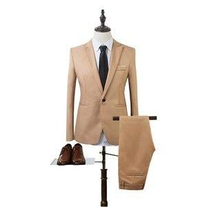 Деловой пиджак + брюки, костюм для мужчин, Весна, модный, однотонный, тонкий, Свадебный комплект, винтажный, классический, для фитнеса, новинка, 2 предмета, для фитнеса, 2020