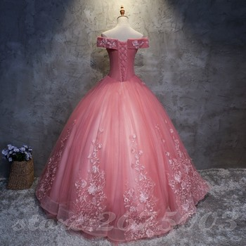 Long Prom Dresses 2020 Ball Gown Tulle Lace Appliques Masquerade Sweet 16 Dresses Party Dresses 6
