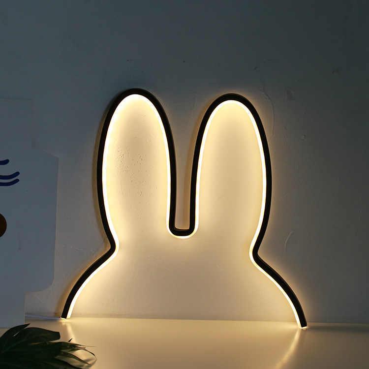 INS Stil Kinder baby zimmer dekoration lichter cute bunny ohr Neon Zeichen Licht Kind kinderzimmer Wand Weihnachten dekorationen Nordic stil
