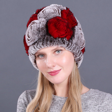 Winter Rex Rabbit Fur Hat Women Knitted 100% Natural Flowers Beanies Hats Warm Soft Real Caps