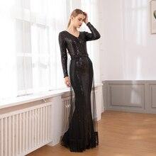 Elegant Black Sequined Mesh Tassel Maxi Dress Full Sleeved V Neck Hollow Out Long Night Party Gown Elastic Dresses