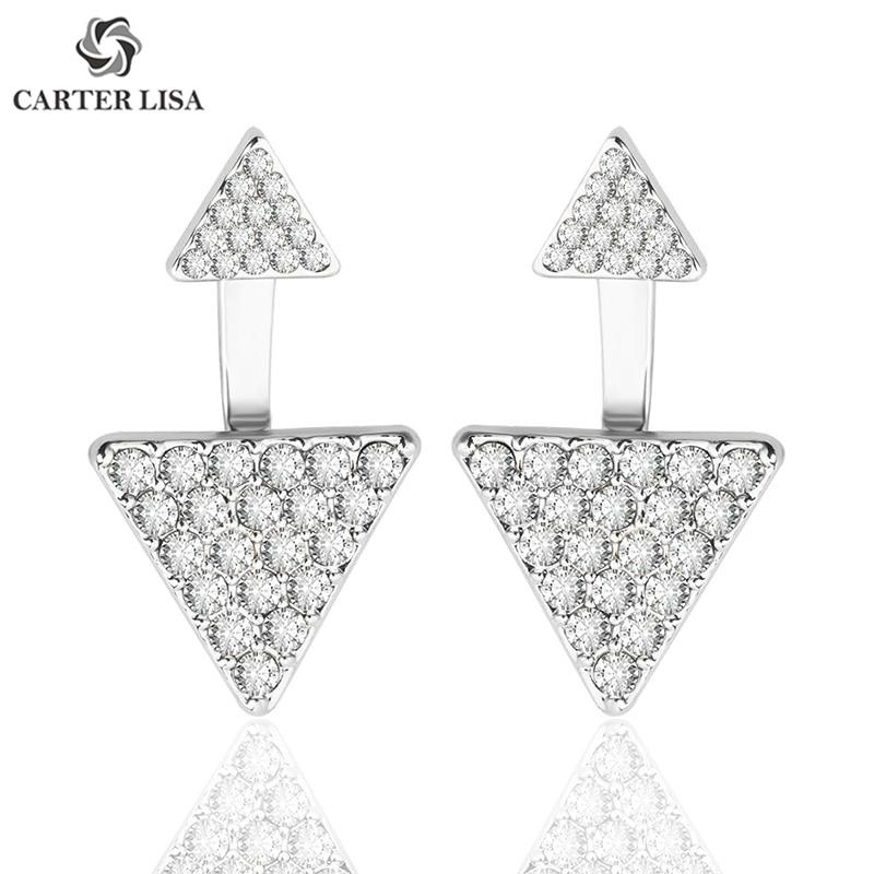 CARTER LISA Modern Gold/Silver Geometric Triangle Clear Rhinestone Pave Women Ladies Ear Stud Earrings Party Female Jewelry