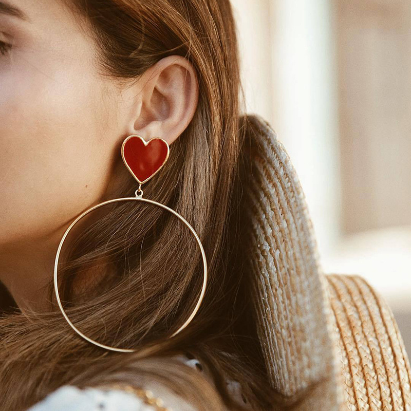 2019 New Red Heart Big Gold Loop Dangle Earrings For Women Lady's Chic Heart Love Earring For Party Jewelry Gift