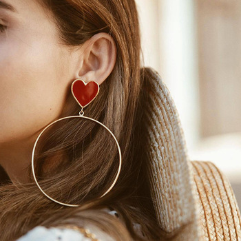 2019 New Red Heart Big Gold Loop Dangle Earrings For Women Lady s Chic Heart Love.jpg 350x350 - 2019 New Red Heart Big Gold Loop Dangle Earrings For Women Lady's Chic Heart Love Earring For Party Jewelry Gift