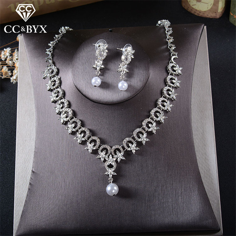 CC Necklace Stud Earring Jewelry Pearl Earrings Pendant Wedding Accessories For Women Bridal Romantic Sets Dropshipping Tl211