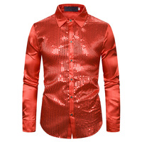 Men's Shirt Sequins Show Shirt Nightclub Men's Wear Host Shirt Gilded Men's Shirt Lapel Long sleeved Shirt ManLong Sleeves Dress