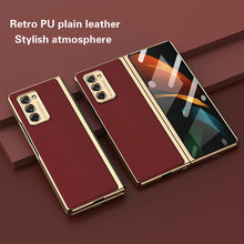 Luxury Tempered Glass Case for Samsung GalaxyZ Fold2 5G All inclusive Metal Edging Retro Leather Cover for Galaxy Z Fold 2 Case