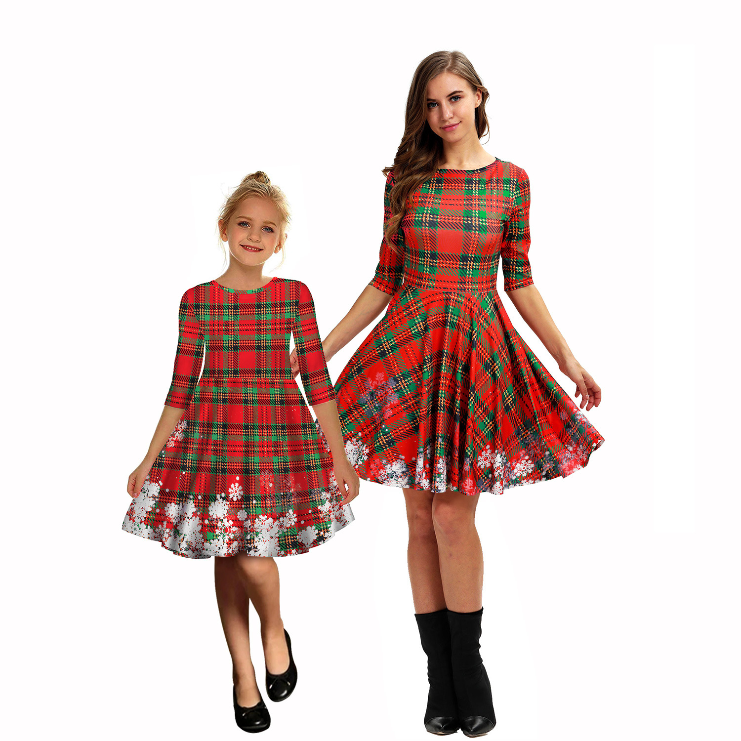 2019 Christmas Sweaters Family Christmas Parent-child Dress In Sleeve Dress Fashion Mom And Baby Family Costumes Halloween New