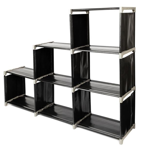 3 Tiers 6 Compartments Storage Shelf Multifunctional Assembled Wardrobe Shoes Garment Organiser Storage Clothes in Storage Holders Racks from Home Garden