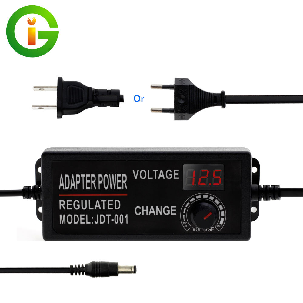 Adjustable Voltage <font><b>LED</b></font> Power Adapter DC3V-12V 9-24V Converter <font><b>Driver</b></font> with Display Screen Universal Power Supply for <font><b>LED</b></font> Lights image