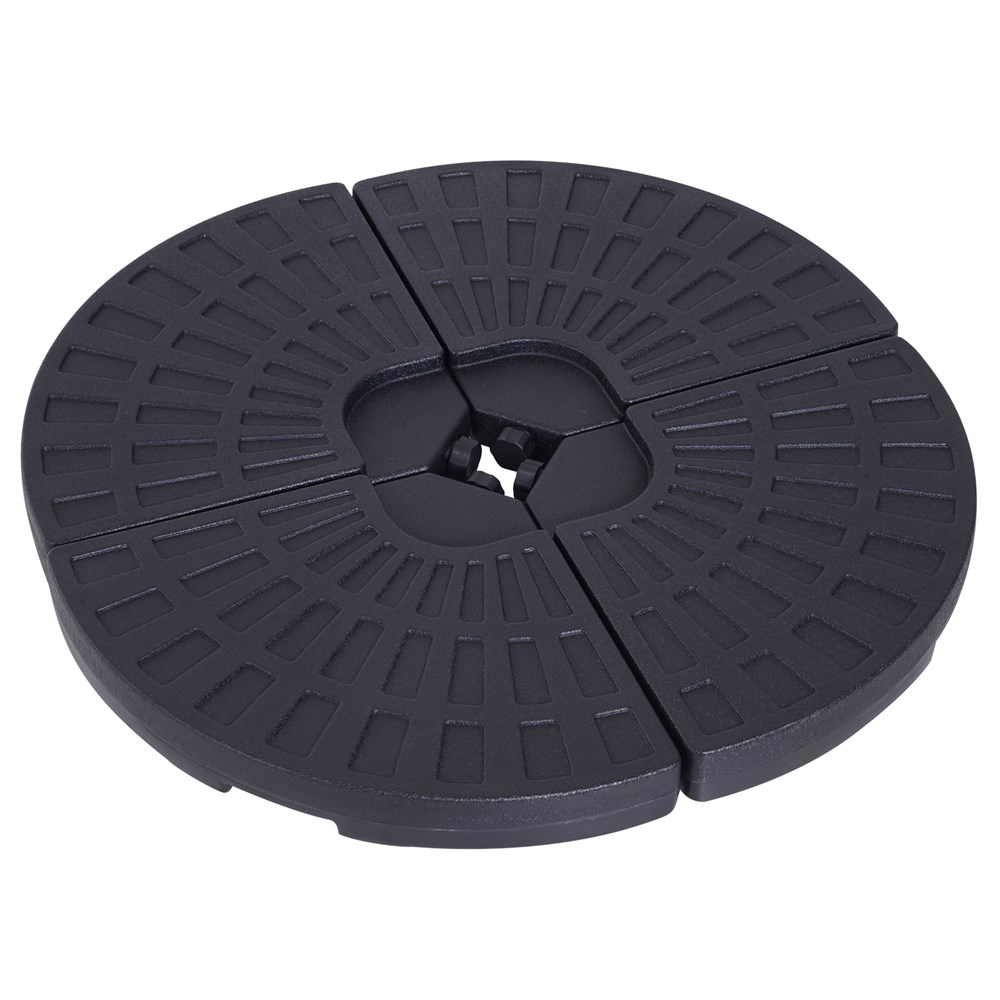 Outsunny Set Base For Umbrella 4 Fitted Pieces Max. 17 Liter HDPE 48x48x8 Cm Black