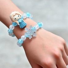Frozen 2 Bracelet For Girl Toys Cartoon Disney Elsa Oalf Anna Minnie Children Handmade Beaded Retractable Bracelet Kids Gift Toy