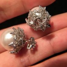 charm Small  star Pearl christmas Earrings zircon elegant personality design korean women stud earrings jewelry