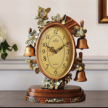 Hot European Luxury Resin Table Clock Living Room Office Mute Desk Clock Bedside Decoration Quartz Table Watch Retro Desk Watch