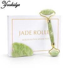 Natural Facial Massage Roller Guasha Scraping Board Set Double Heads Jade Stone Face Lift Body Slim Neck Thin Lift Massage Tools