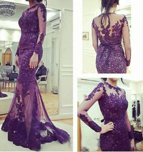 Robe De Soiree 2019 New Mermaid High Neck Long Sleeves Court Train Beading Tulle With Appliqued Formal Mother Of The Bride Dress