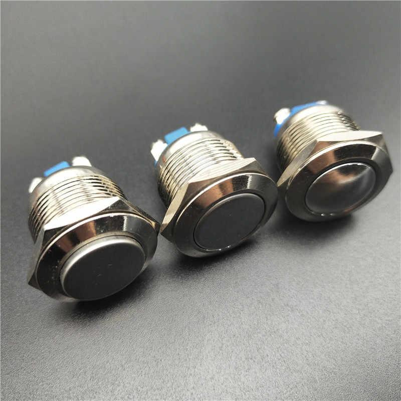 19 ミリメートルメタルプッシュボタンスイッチIP67 ニッケルメッキ真鍮のプレスボタンセルフロッキング 1NO高フラットドーム型ラウンド瞬時