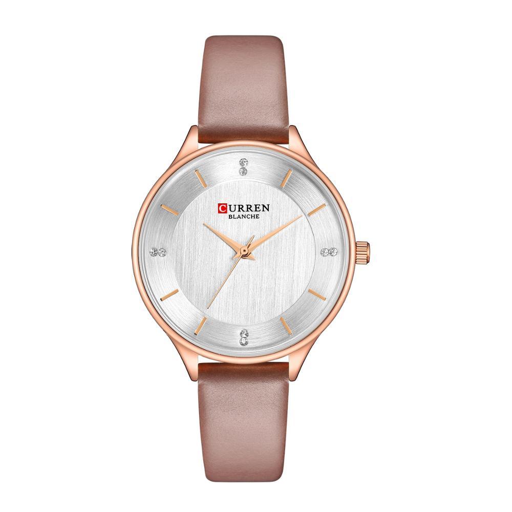 CURREN Montre Femme High Quality Genuine Leather Band Wristwatches Extravagant Women Rhinestones Quartz Watch Waterproof Clock in Women 39 s Watches from Watches