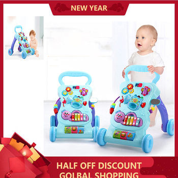 2019 new baby stroller walker toy anti-rollover learning standing walking baby trolley multi-function with music