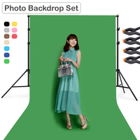 Photography 2m*2m Backdrop Metal Support Stand Tripod with 200cm*300cm Photo Non Woven Fabric Backdrop Cloth w 4pcs Clamp Holder
