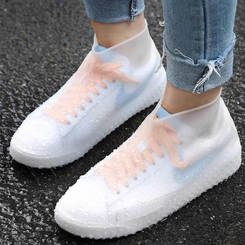 Su geçirmez yağmur ayakkabıları kapakları büyük boy 30-44 kauçuk Elastik gerginlik kaymaz sonbahar kadınlar/erkekler yağmur çizmeleri kapakları