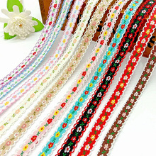 5Yards 12mm Flower Embroidered Lace Trim Ribbons Garment Trim Fabric for Apparel Clothes Accessories Handmade Sewing DIY Crafts