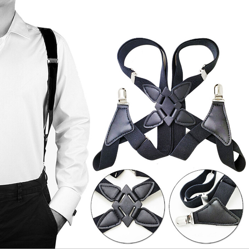 Men Suspenders Wide Adjustable Four Clip On X Back Elastic Black  Heavy Duty Braces Suspenders