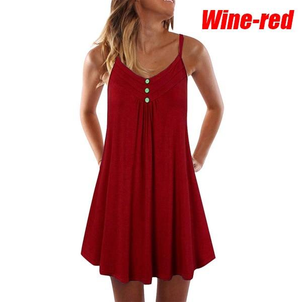 2021 summer new sleeveless dress women's button strap solid color dress