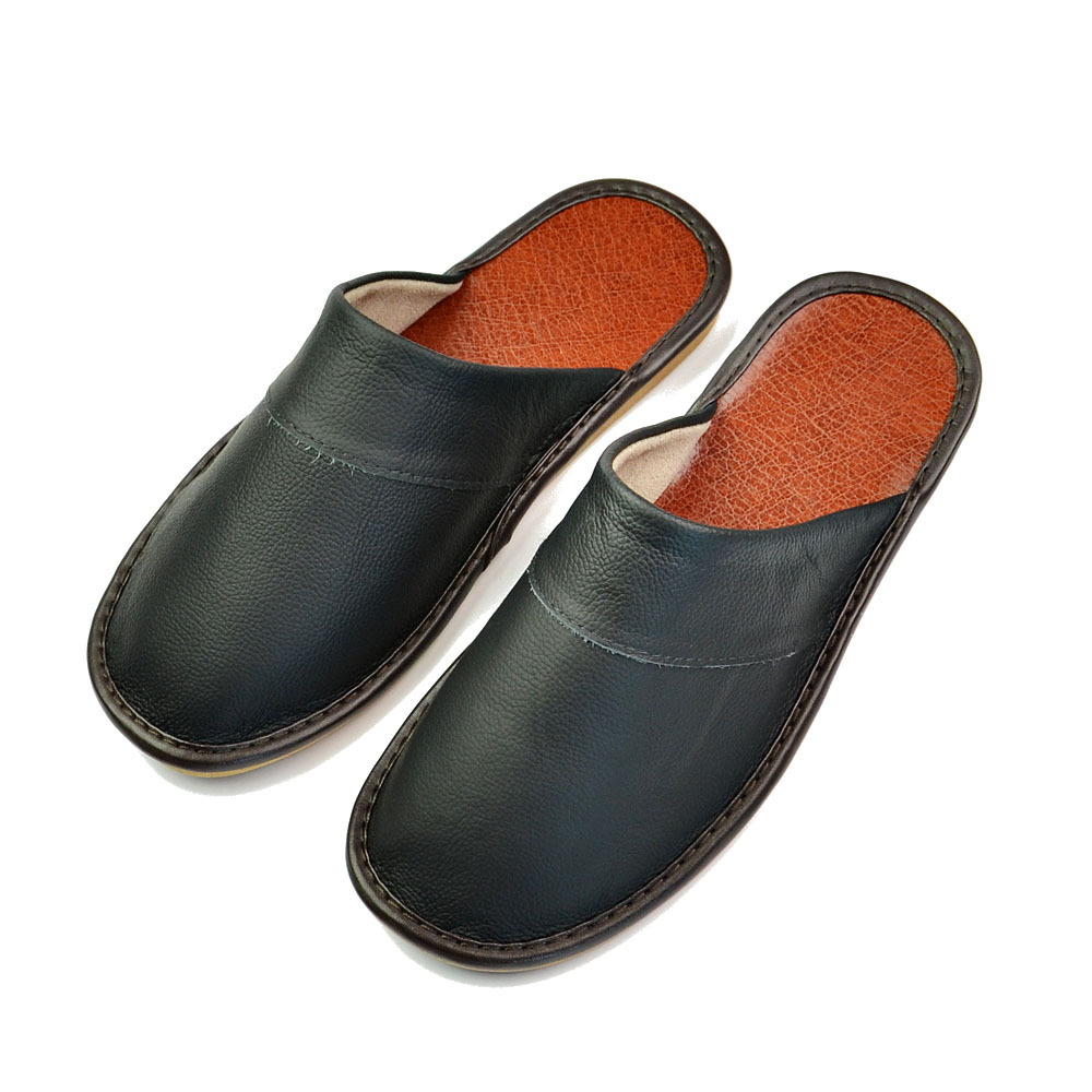 Men Home Slippers Luxury 2020 New Spring Summer Women Cow Leather Indoor Slides Flip Flops Flat House Shoes