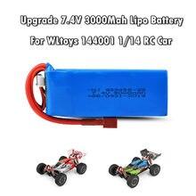 Atualizar 7.4v 3000mah 2s lipo bateria parte para wltoys 144001 1/14 4wd rc carro de controle remoto barco lipo bateria frete grátis