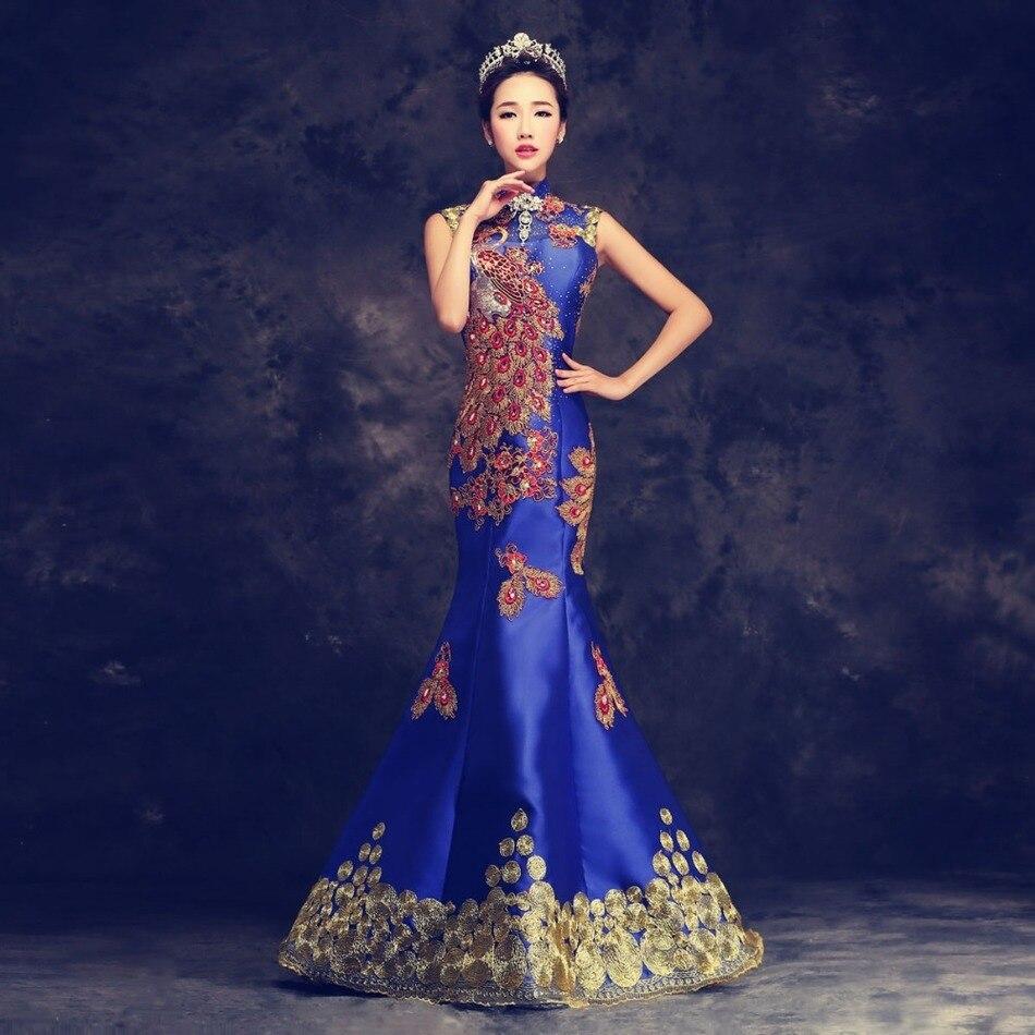 Синий класса люкс с вышивкой в китайском стиле вечернее платье Cheongsam свадебное платье Qipao «Русалочка»; маскарадный восточные Стиль Qi Ципао,