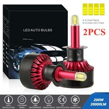 2 pces 200w 20000lm h1 h7 h8/h9/h11 carro farol led feixe farol 6500 k canbus automóvel lâmpadas led correndo luzes