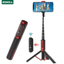 Bonola Bluetooth Phone Selfie Stick Sturdy Hidden Tripod Handheld Selfie Stick Lightweight Mobile Live Broadcast Bracket Remote