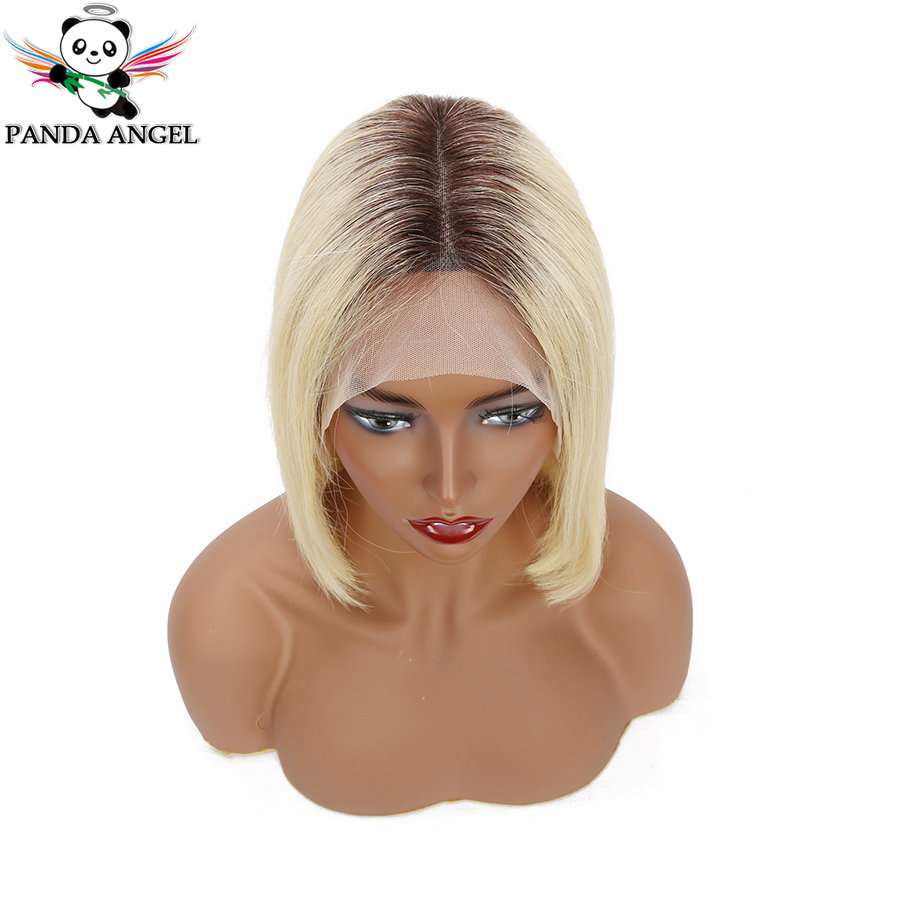 Panda 1B 613 Short Blonde Bob Wigs Brazilian 13x4 Straight Blonde Lace Frontal Human Hair Bob Wigs For Black Women 8-14Inch Remy