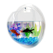 Pinsjar Acrylic Fish Bowl Wall Hanging Aquarium Tank Aquatic