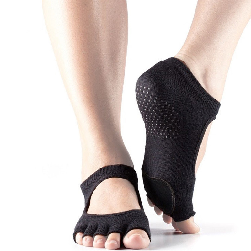 Women Cowhide Silicone Anti-Slip Yoga Socks Quick-Dry Damping Five Toe Pilates Fitness Ballet Breathable Sports Socks Good Grip