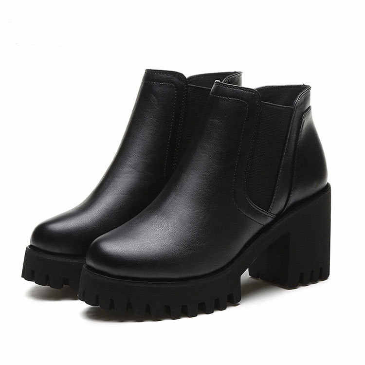 Thời trang Nữ Thời Trang Mới Mùa Xuân, Mùa Thu Nền Tảng Mắt Cá Chân Giày Nữ Gót Dày Nền Tảng Giày Nữ Công Nhân Giày Đen 35- 40