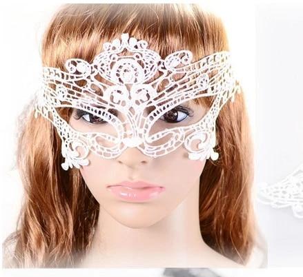 Halloween Cat Lace Eyemask Ribbon Tie On Fancy Dress Accessory