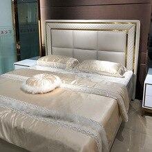 Светильник для двойной кровати, роскошная кожаная кровать для хранения, Скандинавская мебель, модель комнаты, кожа, искусство, отель, на заказ, свадебная кровать из цельного дерева