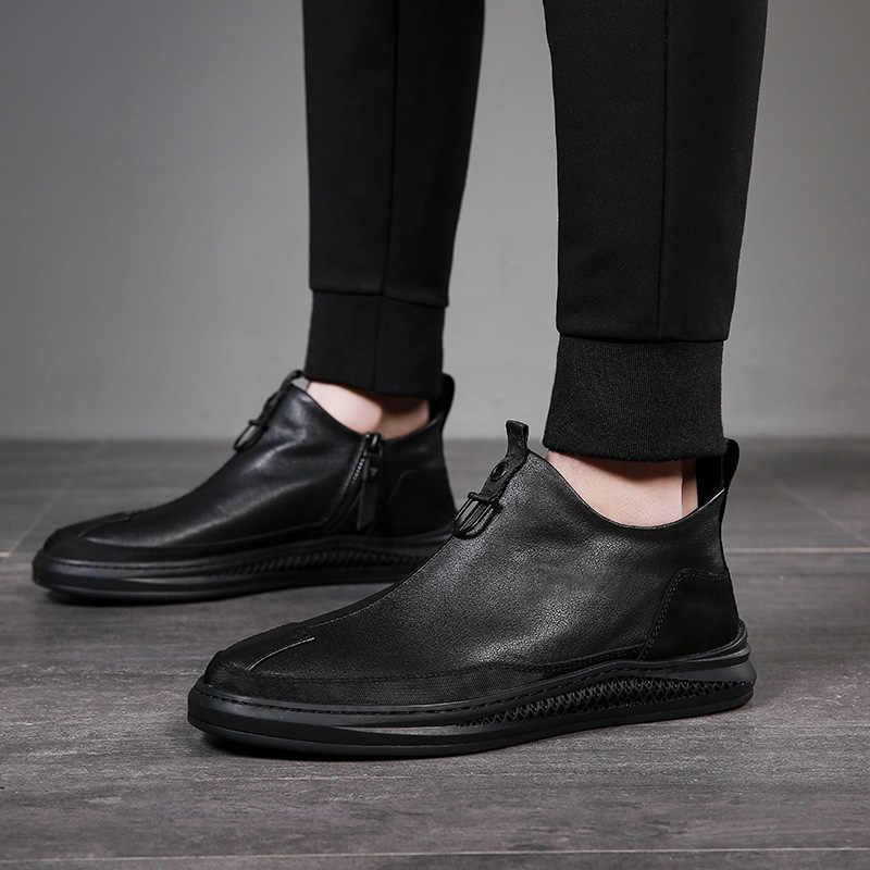2019 Musim Gugur Awal Musim Dingin Sepatu Pria Kulit Asli Chelsea Boots Fashion Pria Sepatu Kulit Sapi Pria Sepatu Ankle Hitam A1120
