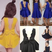 Однотонное платье принцессы без рукавов с бантом на спине для маленьких девочек, одежда, платье для малышей, лето, три цвета