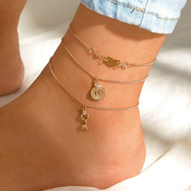 3pcs/lot Vintage Beach Heart Keys Gold Color Foot Anklets for Women Bohemian Female Anklets Summer Bracelet on The Leg Jewelry