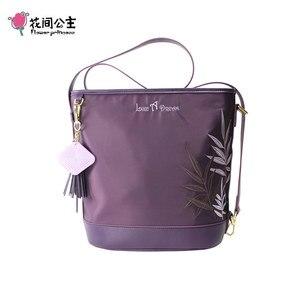 Flor princesa feminina bolsa de ombro bordado bolsas de náilon com borla à prova dtassel água zíper saco de mão para viagens trabalho diário