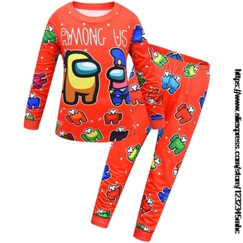 Game Among US Boy's Home Service Suit Underwear Cartoon Clothes Long-Sleeved Trousers Child Nightclothes Indoor Cotton Sleepwear 17