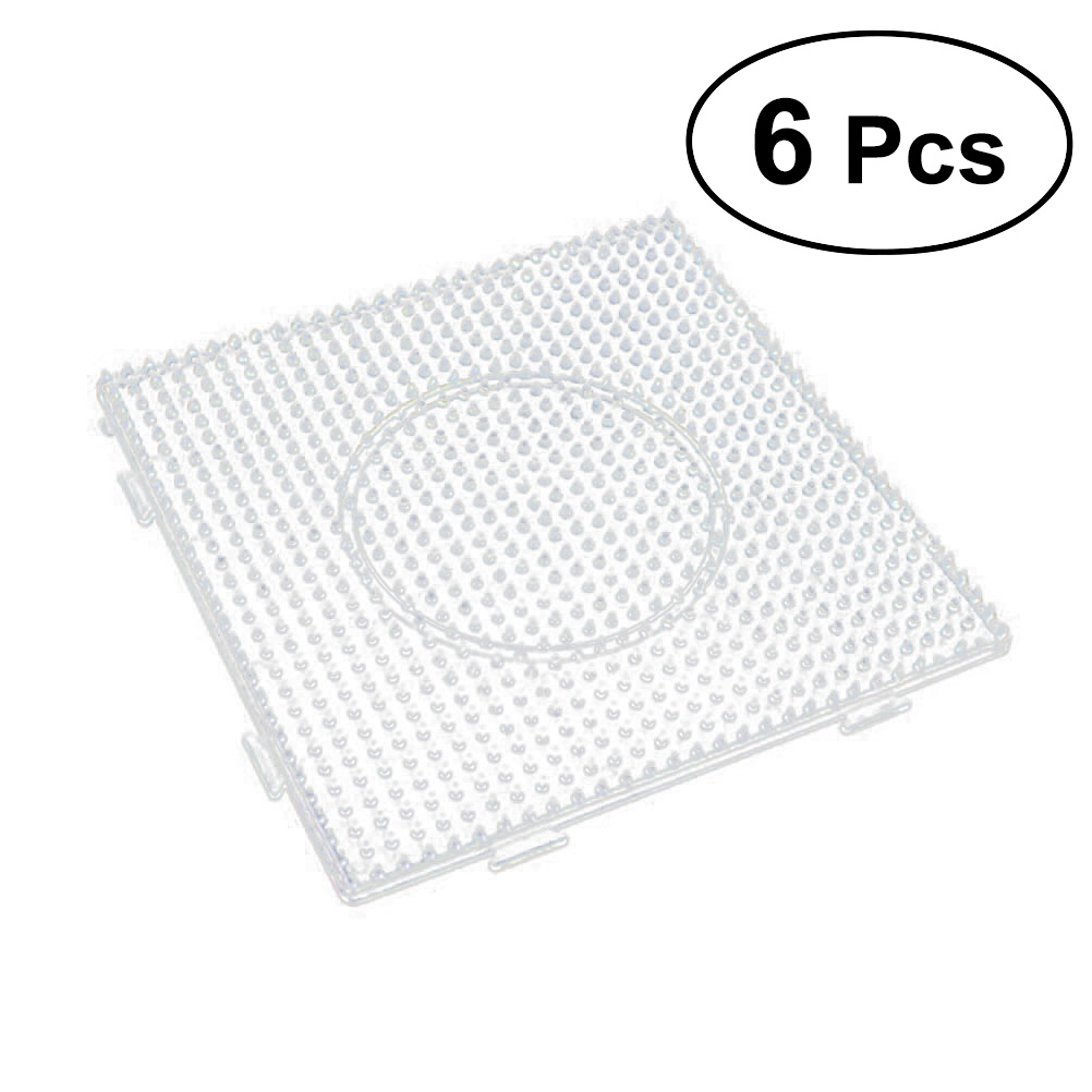 6 Pcs 5mm Fuse Beads Boards,Large Square Fuse Beads Boards Clear Plastic Pegboards Square Clear Plastic Pegboards,Suitable for Kids Craft Beads