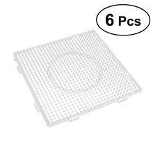 Planches de perles à fusible carrées de 5mm, 6 pièces, Pegboards en plastique transparent pour enfants, perles artisanales