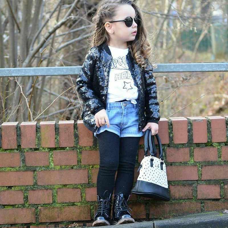 Весенне-осеннее индивидуальное универсальное пальто для маленьких девочек; Повседневная однотонная модная куртка с длинными рукавами и блестками на молнии; Новинка 2019 года