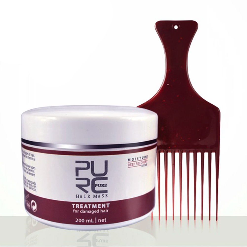 200ML Natural Keratin Hair Mask Deep Repair Damage Dry Hair Eliminates Frizzy Hair Conditioner with Comb NEW image